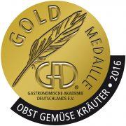"""Ausgezeichnet mit der Gold-Medaille des GAD in der Kategorie """"Obst, Gemüse, Kräuter"""" 2016"""